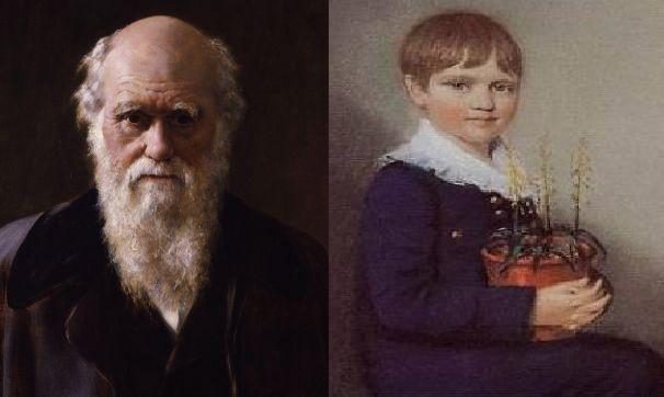 Charles Darwin criança, com sete anos (1816) e depois adulto, com 73 anos (1882), ano da sua morte. No começo ela ACREDITA em D_us, depois ...
