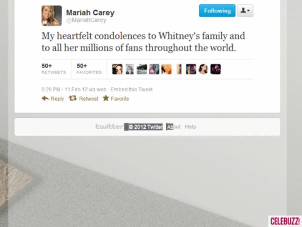 """""""Minhas sinceras condolências à família de Whitney e para todos os milhões de fãs em todo o mundo"""""""