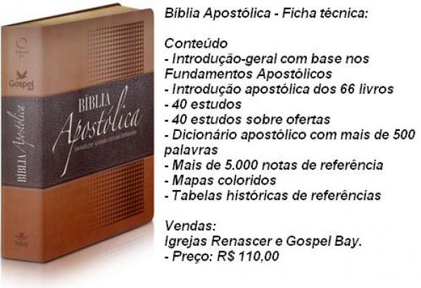Primeira Bíblia Apostólica do Mundo, com anotação do 'Apóstolo' Estevam Hernandes e prefácio do Apóstolo 'René Terra Nova.