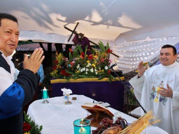 """Chávez disse que """"ainda tem muito o que fazer pela pátria"""" durante missa celebrada em sua cidade natal, Barinas Foto: AFP"""