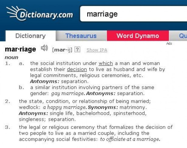 Dictionary.Com pode ser acessado em: http://dictionary.reference.com/browse/marriage?s=t